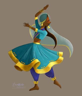 indian dancer leontine illustrator