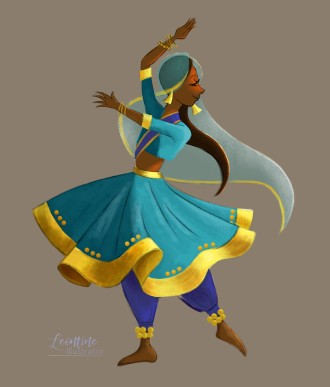 indian dancer leontine illustrator